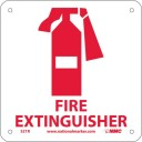 NMC S21R Fire Sign with Graphic, FIRE EXTINGUISHER, 7 Width x 7 Height, Rigid Plastic, Red on White by NMC