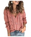 AngelSpace Women Baggy V-neck Long-sleeve Button-up knit Cardi Sweaters AS1 S