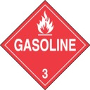 Accuform Signs MPL304VS1 Adhesive Vinyl Hazard Class 3 DOT Placard, Legend GASOLINE 3 with Graphic, 10-3/4 Width x 10-3/4 Length, White on R