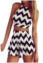 VITryst Womens Halter Backless Striped Crop Tops Short Pants Suit Set 1 S